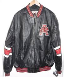 arkansas razorbacks vintage leather jacket black red large vg clean rare 1802322665