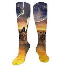 Amazon Com Ruin Faint Earth Planet High Knee Socks Long