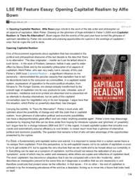 lse rb feature essay opening capitalist realism by alfie bown lse rb feature essay opening capitalist realism by alfie bown
