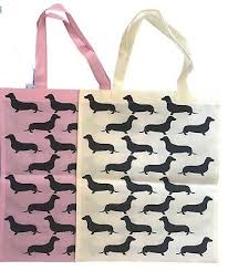 2 dachshund gifts reusable tote ping bags weiner dog doxie wiener