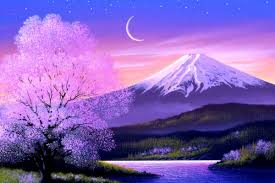 cool mountain backgrounds. Cool Twilight Mountain Land Places Heaven Paintings Grass Rivers Paradise Plants Crescent Moon Love Seasons Waterscapes Backgrounds