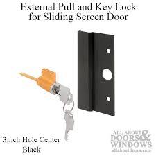 external pull and key lock sliding patio door international black