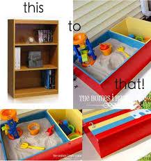 how to transform a bookshelf to a sandbox