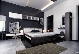 Black Accent Wall With Textured Marble Floor For Modern Bedroom Ideas For  Men