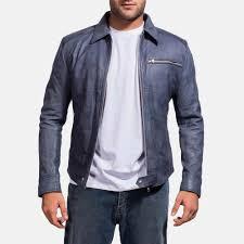 mens lavendard blue leather biker jacket 2