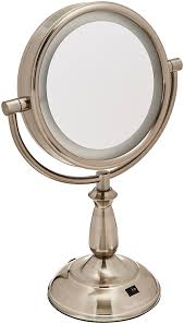 amazon ovente led 8x magnifying makeup mirror 6 0 lighted travel vanity mirror cordless battery operated locking suction portable