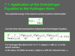 7 1 of the schrödinger equation to the hydrogen atom
