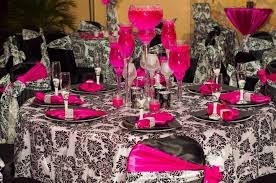 black white and pink table setting