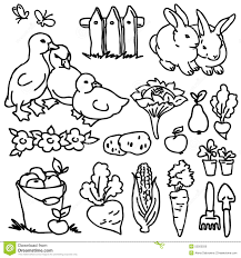 coloring book cartoon farm s horse bird vegetables fruits garden tools and decoration elements for kid drawing