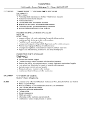 Resume Specialists Parts Specialist Resume Samples Velvet Jobs