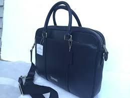 coach men navy leather slim brief briefcase bag 595