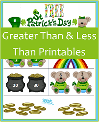Saint Patrick's Day Printables: Greater Than and Less Than – 3 ...