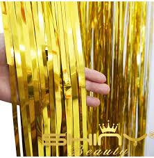 shinybeauty 3x8ft gold foil fringe door curtains for birthday wedding decoration party