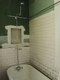 image of recessed shower shelf diy