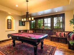 pool table rug game room with concord red area rug hardwood floors mercantile metal wall decor