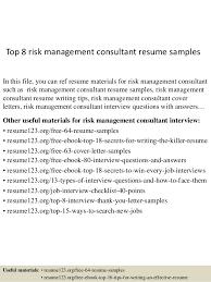 Top 8 Risk Management Consultant Resume Samples