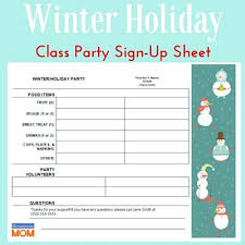 Party Sign Up Sheet Template Printable Sign Up Sheet Template Classroom Holiday Party