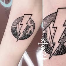 Tilldthtattoo Landscape Thunderbolt Tattoo Blackwork