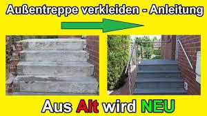 Packen sie es selbst an! Aussentreppe Sanieren Stein Treppe Mit Naturstein Frostfest Verkleiden Renovieren Anleitung Youtube