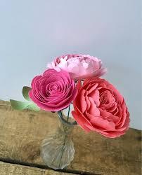 Paper Flower Arrangements Pink Paper Flower Arrangement Paper Peony Paper Rose Etsy