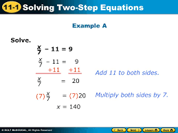11 1 solving two step equations solve