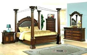 Full Size Canopy Bed Frame White Wood Of 4 Poster Queen Bedroom Set ...