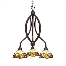 bow bronze three light chandelier with roman jewel tiffany glass