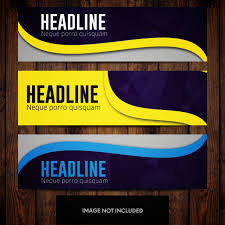 Business Banner Design Blue And Yellow Abstract Business Banner Design Templates Stock