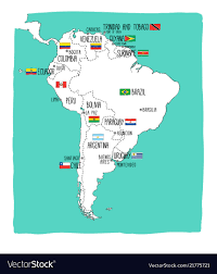 Hand Drawn Map Of South America With Flags