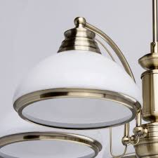interior view classic 5 arm pendant chandelier in antique brass with white glass shades save