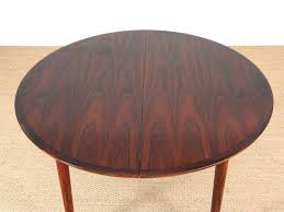 mid century modern danish extendable round dining table in rio rosewood