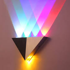 home lighting decoration. Colorful 5W Aluminum Triangle LED Wall Light Lamp Modern Home Lighting Indoor Outdoor Decoration AC90 264V-in Lamps From Lights \u0026