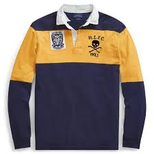 ralph lauren man clothing classic fit cotton rugby shirts cruise navy gold bugle