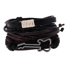 yeduo leather bracelets men note charm guitar wrist band boys accessorie