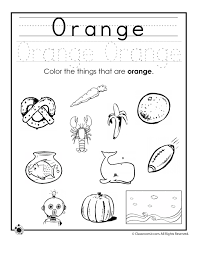 Small Picture Learning Colors Worksheets for Preschoolers Color Orange Worksheet