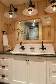 rustic bathroom lighting fixtures. rustic pine guest bathroom crisp architects really cool large vintage sink lighting fixtures o