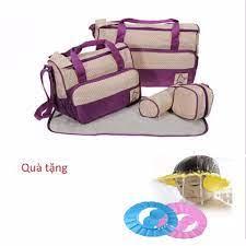 Bộ 5 túi đựng đồ cho mẹ và bé (Tím) + Tặng kèm mũ gội đầu cho bé