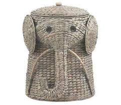 Wicker Elephant Hamper Wicker Laundry Basket Hamper Woven Elephant Clothes  Bin Lid