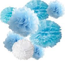 Paper Flower Balls To Hang From Ceiling 18pcs Tissue Hanging Paper Pom Poms Hmxpls Flower Ball Wedding Party Outdoor Decoration Premium Tissue Paper Pom Pom Flowers Craft Kit Blue