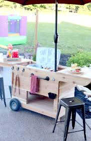 outdoor party station mobile cart featuring storage for a large cooler drawer that pulls out