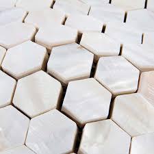mother of pearl shell tile backsplash hexagon fresh water seashell mosaic bathroom wall sticker