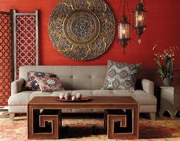 View in gallery Bamboo Coffee Table and ornate details shape this chic  living room in bold colors