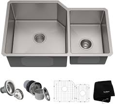 Kraus Khu12332 32 Inch Undermount 6040 Double Bowl Kitchen Sink