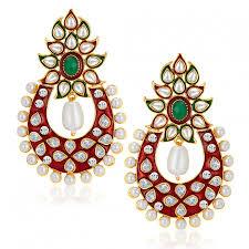 sukkhi designer gold plated australian diamond earrings