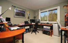 cool office desk. Home Offices, Superb Cool Office Desk With U Shaped Style Feats Calming Grey Wall Color