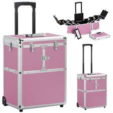 details about 19 aluminum trolley pink makeup case rolling beauty cosmetic lock box w hand