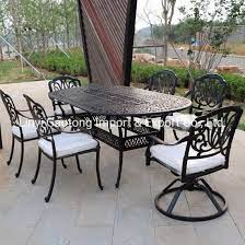 china round cast aluminum table and