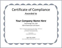 Certification Template Certificate Of Compliance Template Word Rome Fontanacountryinn Com