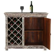 Distressed Solid Wood Rustic Bar Cabinet with Wine Storage