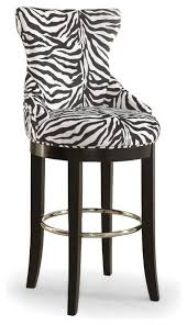 Patterned Bar Stools Unique Peace And Zebraprint Patterned Fabric Bar Stool And Metal Footrest